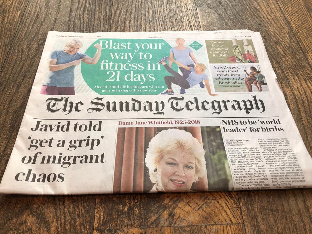 The Sunday Telegraph cover photo