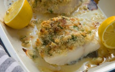 PARMESAN CRUSTED COD WITH STEAMED GREENS